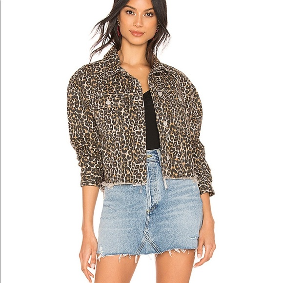 Free People cropped cheetah print denim jacket